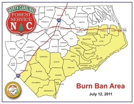 Map of burn ban