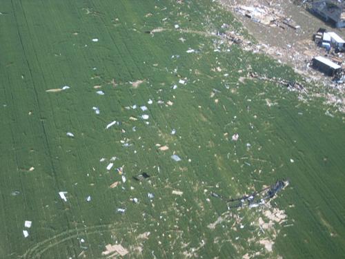 Tornado debris in a farm field