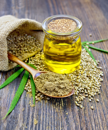 hemp oil, flour and seeds