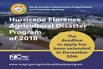 Hurricane Florence Agricultural Disaster Program graphic with Dec 20 extension